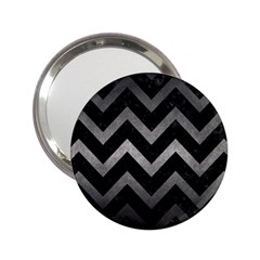 Chevron9 Black Marble & Gray Metal 1 2 25  Handbag Mirrors