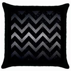 Chevron9 Black Marble & Gray Metal 1 Throw Pillow Case (black)