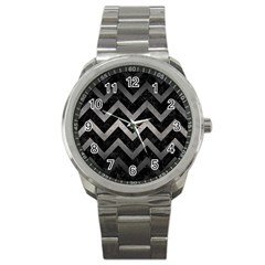 Chevron9 Black Marble & Gray Metal 1 Sport Metal Watch