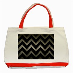 Chevron9 Black Marble & Gray Metal 1 Classic Tote Bag (red)