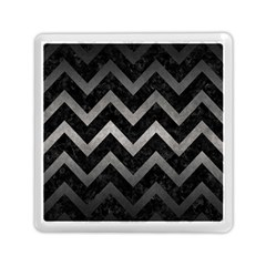 Chevron9 Black Marble & Gray Metal 1 Memory Card Reader (square)