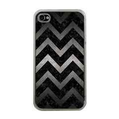 Chevron9 Black Marble & Gray Metal 1 Apple Iphone 4 Case (clear)