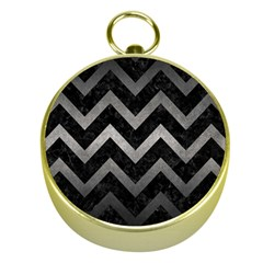 Chevron9 Black Marble & Gray Metal 1 Gold Compasses