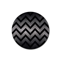 Chevron9 Black Marble & Gray Metal 1 (r) Rubber Round Coaster (4 Pack)