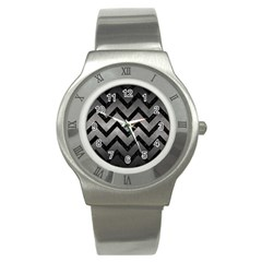 Chevron9 Black Marble & Gray Metal 1 (r) Stainless Steel Watch