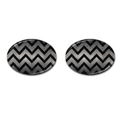 Chevron9 Black Marble & Gray Metal 1 (r) Cufflinks (oval)