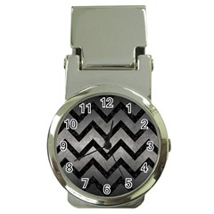 Chevron9 Black Marble & Gray Metal 1 (r) Money Clip Watches