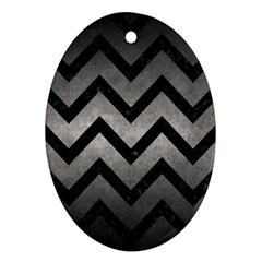 Chevron9 Black Marble & Gray Metal 1 (r) Oval Ornament (two Sides)