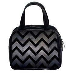 Chevron9 Black Marble & Gray Metal 1 (r) Classic Handbags (2 Sides)