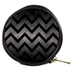 Chevron9 Black Marble & Gray Metal 1 (r) Mini Makeup Bags