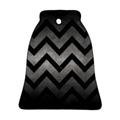 Chevron9 Black Marble & Gray Metal 1 (r) Bell Ornament (two Sides)