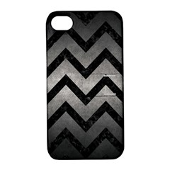 Chevron9 Black Marble & Gray Metal 1 (r) Apple Iphone 4/4s Hardshell Case With Stand