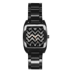 Chevron9 Black Marble & Gray Metal 1 (r) Stainless Steel Barrel Watch