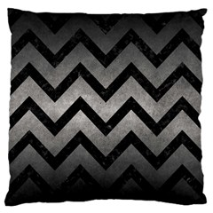Chevron9 Black Marble & Gray Metal 1 (r) Large Flano Cushion Case (two Sides)
