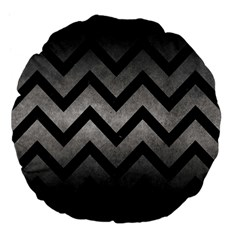 Chevron9 Black Marble & Gray Metal 1 (r) Large 18  Premium Flano Round Cushions