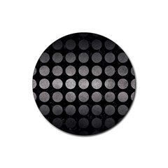 Circles1 Black Marble & Gray Metal 1 Rubber Coaster (round)