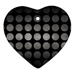 Circles1 Black Marble & Gray Metal 1 Heart Ornament (two Sides)