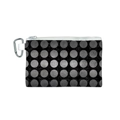 Circles1 Black Marble & Gray Metal 1 Canvas Cosmetic Bag (s)