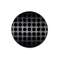 Circles1 Black Marble & Gray Metal 1 (r) Rubber Coaster (round)