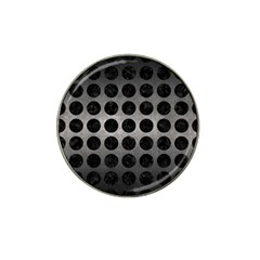 Circles1 Black Marble & Gray Metal 1 (r) Hat Clip Ball Marker (4 Pack)