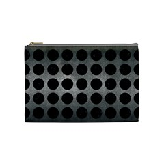 Circles1 Black Marble & Gray Metal 1 (r) Cosmetic Bag (medium)