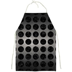Circles1 Black Marble & Gray Metal 1 (r) Full Print Aprons