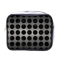 Circles1 Black Marble & Gray Metal 1 (r) Mini Toiletries Bags