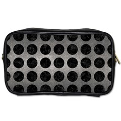 Circles1 Black Marble & Gray Metal 1 (r) Toiletries Bags