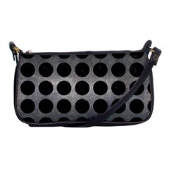 Circles1 Black Marble & Gray Metal 1 (r) Shoulder Clutch Bags