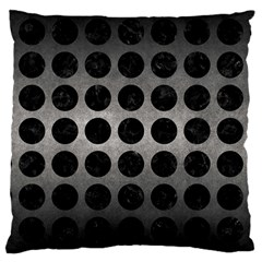 Circles1 Black Marble & Gray Metal 1 (r) Large Cushion Case (one Side)