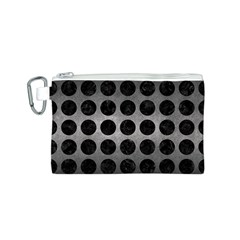 Circles1 Black Marble & Gray Metal 1 (r) Canvas Cosmetic Bag (s)