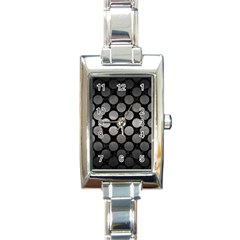 Circles2 Black Marble & Gray Metal 1 Rectangle Italian Charm Watch