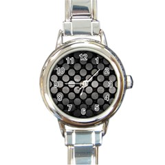 Circles2 Black Marble & Gray Metal 1 Round Italian Charm Watch