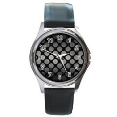 Circles2 Black Marble & Gray Metal 1 Round Metal Watch