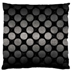 Circles2 Black Marble & Gray Metal 1 Large Cushion Case (two Sides)