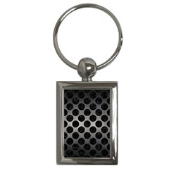 Circles2 Black Marble & Gray Metal 1 (r) Key Chains (rectangle)
