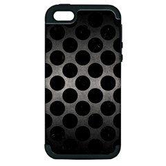 Circles2 Black Marble & Gray Metal 1 (r) Apple Iphone 5 Hardshell Case (pc+silicone)