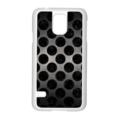 Circles2 Black Marble & Gray Metal 1 (r) Samsung Galaxy S5 Case (white)