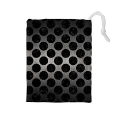 Circles2 Black Marble & Gray Metal 1 (r) Drawstring Pouches (large)