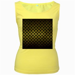 Circles3 Black Marble & Gray Metal 1 Women s Yellow Tank Top