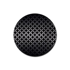 Circles3 Black Marble & Gray Metal 1 Rubber Coaster (round)