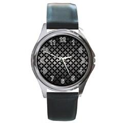 Circles3 Black Marble & Gray Metal 1 (r) Round Metal Watch