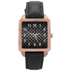 Circles3 Black Marble & Gray Metal 1 (r) Rose Gold Leather Watch