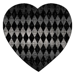 Diamond1 Black Marble & Gray Metal 1 Jigsaw Puzzle (heart)
