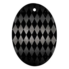 Diamond1 Black Marble & Gray Metal 1 Oval Ornament (two Sides)