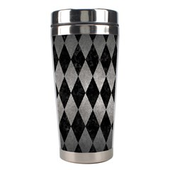 Diamond1 Black Marble & Gray Metal 1 Stainless Steel Travel Tumblers