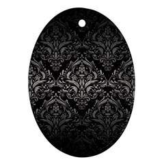 Damask1 Black Marble & Gray Metal 1 Ornament (oval)