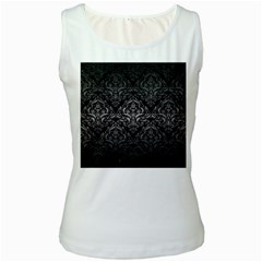 Damask1 Black Marble & Gray Metal 1 Women s White Tank Top