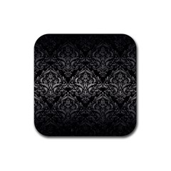 Damask1 Black Marble & Gray Metal 1 Rubber Coaster (square)