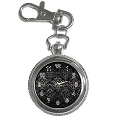 Damask1 Black Marble & Gray Metal 1 Key Chain Watches